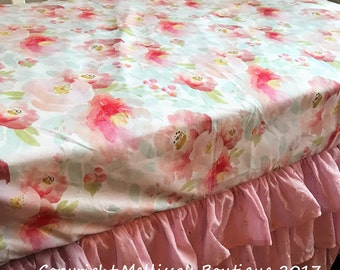 WaterColor Floral Roses Pink Blush Peach & Light Mint Baby Nursery Crib Bedding Set CHOOSE and CUSTOMIZE