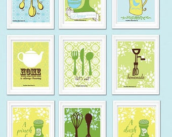 personalized kitchen print set kitchen art