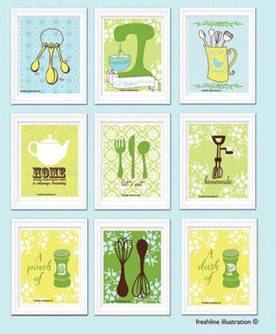 personalized kitchen print set kitchen art