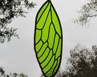 Stained Glass Cicada Wing Suncatcher Bright Moss Chartreuse Green