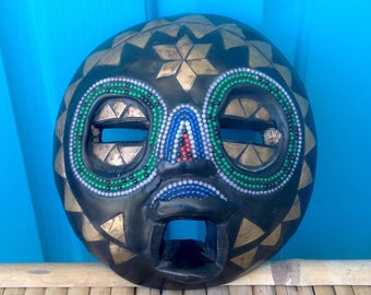 """FREE SHIPPING-Vintage Perfect 7"""" Round African Ghana Tribal Mask w/Glass Beads And Brass Inlays-Primitive-Wall Decor-Bohemian-Ethnic Decor"""