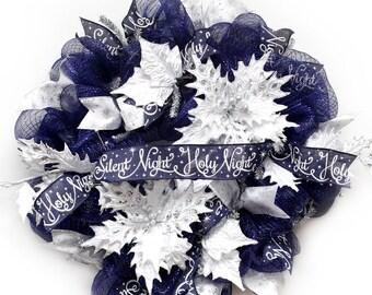 Silent Night Christmas Wreath Navy & Silver Wreath