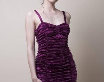 Burgundy Crushed Velvet Mini Dress -Small (Sample Sale)