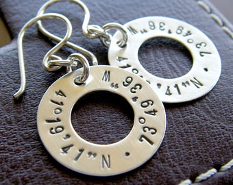 Longitude Latitude Earrings - Hand Stamped and Personalized Sterling Silver Jewelry - 3/4 Inch Washer Earrings Custom