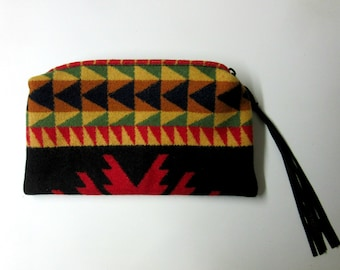Wool Zippered Pouch Cosmetic Bag Make Up Pouch Clutch Purse Accessory Organizer Southwest Style