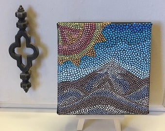Aboriginal Style Mini Dot Art Painting - 5 X 5 Canvas With Mini Easel Display - Folk Art - The Mountains Are Calling - FREE USA SHIPPING