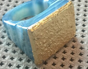 SALE Dara Ettinger JILL Druzy Ring in Blue/Gold sz 8