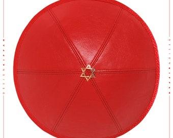Leather kippah yarmulke yamaka kippa. Jewish wedding - Bar Mitzvah - Shabbat.