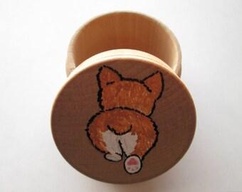 Natural Wood Hand Painted Corgi Butt Keepsake Trinket Box
