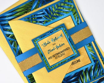 Watercolour Tropical Palm Leaves with Gold Foil Beach Destination Wedding Invitation and RSVP Suite