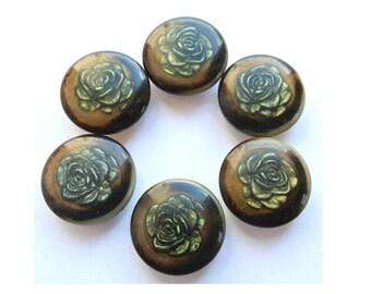 6 Vintage buttons rose flower trim 23mm, unique rare buttons