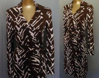 Vintage Diane Von Furstenberg DVF Classic Wrap Dress, Abstract Print Silk Jersey, Size 12 Large