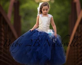 Gold Sequin Dress Flower Girl Dress Navy Tulle Dress Beach Wedding Dress Party Dress  Birthday Dress Toddler Dress Girls Dress
