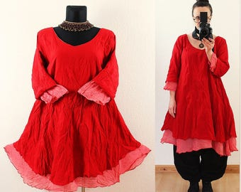 Red and Rosé FLOATY Fairy Long Tunic DRESS Plus Size 14 16 18 20 Gothic Vintage Lagenlook Baggy Linen Cotton Spring Summer 1x 2x