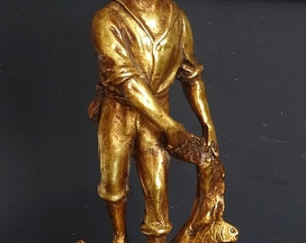 Large Gilded Fisherman Sculpture, Fisherman Statue, New England Fisherman, Trawling Fisherman 16""