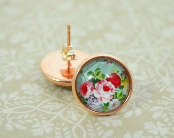 Roses and Peonies Golden Studs - Round Glass Dome Floral Earrings