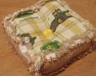 Ashlawnfarms, Rag Quilt Pincushion, Rag Quilted Pincushion, Sewing Gift, Pin Keep, Pin Cushion, John Deere and Plaid