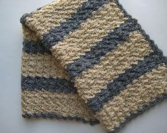 READY TO SHIP Crochet Baby Boy Blanket - Baby Shower Gift, Baby Travel Blanket, Stroller Blanket, Crib Blanket - Khaki & Gray