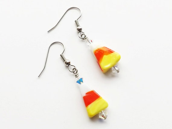 Candy Corn Earrings accent beads glass beaded novelty earrings halloween dangle retro cute simple stocking stuffers party favors gifts
