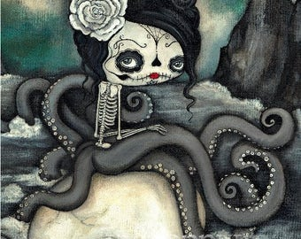 Sugar Skull Print Cute Dead Octopus Nautical Skeleton Wall Art