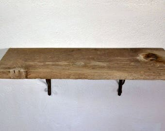 "Deep wall shelf reclaimed barnwood 30"" long,10.75"" deep and 10.5"" tall with brackets"