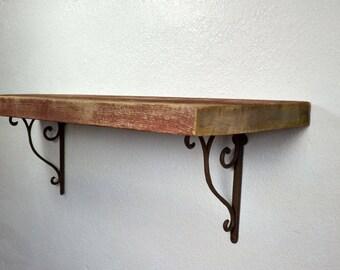 "Deep wall shelf reclaimed barnwood 33"" long,11"" deep and 10.5"" tall with brackets"