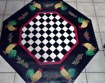 """FLOORCLOTH / French Country Primitive / Hand Crafted Rug / Black and White Checked / OCTAGONAL  / 56""""x56""""/ ROOSTER"""