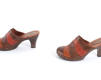 size 9.5 CLOGS brown leather 70s 80s 90s PATCHWORK high heel PLATFORM mules