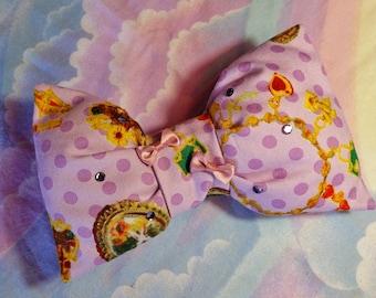 White rabbit bunny cameo polka dot bow hair clip, fairy kei 90s fashion sweet lolita gifts under 20