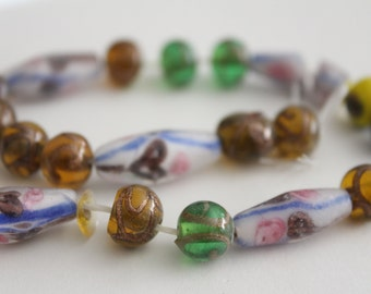 Lampwork glass mixed round tube beads 10-22mm (18)