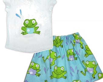 Girls frog Skirt and Tee Shirt / T-Shirt / Baby Clothing / Children's Clothes