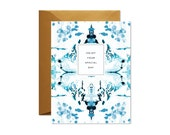 ENJOY Your SPECIAL DAY Blue + White Chinoiserie  Greeting Card / Birthday / Wedding / Graduation / Mother's Day