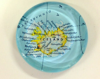 Vintage Map Paperweight - Iceland - Ready to ship