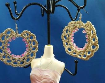 Beaded crochet earrings, Bohemian style, beaded hoops
