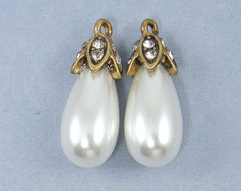 White Pearl Teardrop Earring Findings, Ornate Antique Gold Clear Rhinestone Drop for Earrings Pendant Necklace Jewelry |WH3-4|2