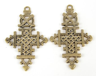 Ethiopian Style Cross Pendant Ethnic Antique Brass African Tribal Earring Findings Jewelry Component |G14-9|2