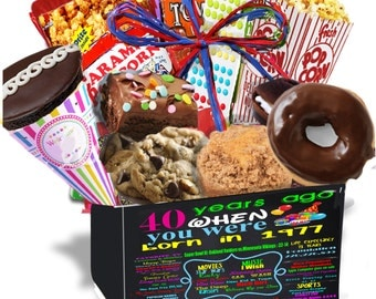 40th birthday for her, 1977- 40th birthday Gift for her-40th birthday Gift for him-Gourmet Fresh Snacks Made in our Bakery