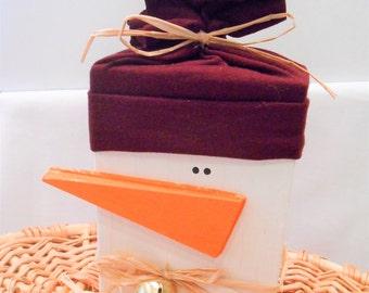Snowman, Wood Snowman, Christmas Decoration, Holiday Wooden Snowman