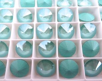 4 Mint Green Swarovski  Rivoli Stone 1122 12mm