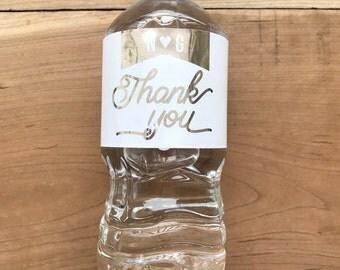 Gold Foil Waterproof Water Bottle Labels - Silver Foil Metallic Labels - Wedding Water Bottles - Party Drink Stickers - Thank You Pennant