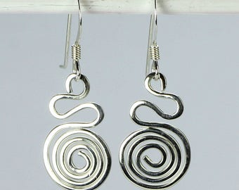 Silver Swirl Earrings, Silver Wire Wrapped Jewelry, Handmade Silver Wire Earrings, Sterling Silver Earrings, Wire Wrapped Spiral Earrings