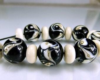 Black Ivory Silver Round Organic Lampwork Beads Set SRA Lampwork