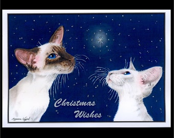 Large Glittery SIAMESE CAT Christmas Card by Suzanne Le Good