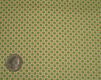 Green, Tangerine Orange, White Polka Dots 31142 60 Fabric by Lecien Retro 30's Child Smile