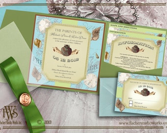Beach Getaway theme Wedding Invitation or elopement announcements.  6 x 6 style