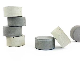 Concrete magnets | magnets set |  modern gift idea | minimalist office decor |  round shape magnets | concrete decor