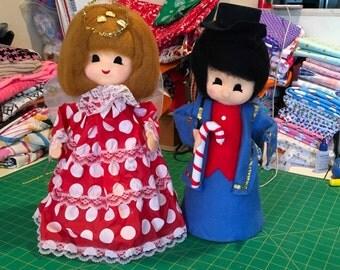 "Vintage Kitchy Angel Soldier Styrofoam Christmas Kitchmas Decoration Doll 15"""