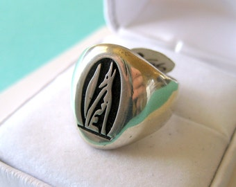 Hopi Howling Coyote Sterling Silver Overlay Ring Size 6.75