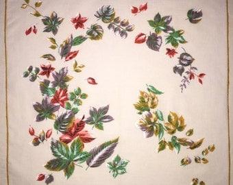 Vintage Hanky with Leaves - Hankie Handkerchief