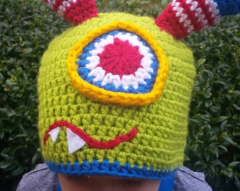 Green Two Horn Monster Hat - Boy Hats/Winter Hats/Character Hats